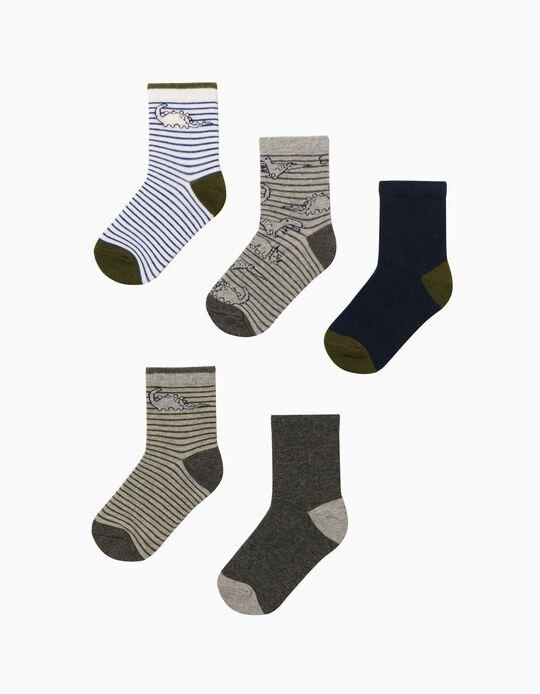 5 Pairs of Socks for Boys 'Dinosaurs', Multicoloured