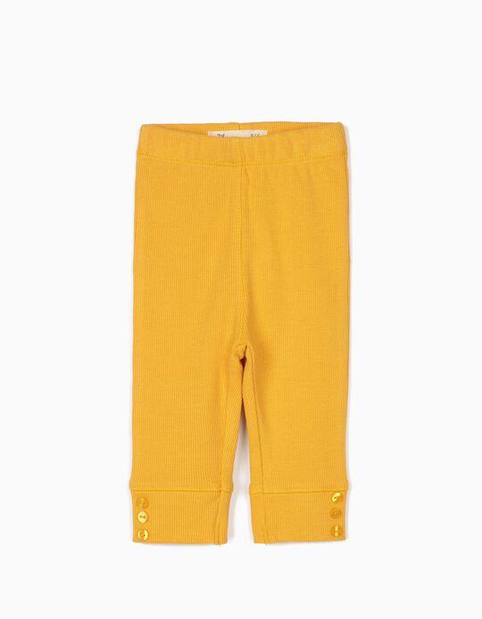 Calças Caneladas para Recém-Nascida, Amarelo Torrado