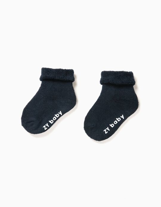 Pack of 2 Pairs of Non-Slip Socks, Blue