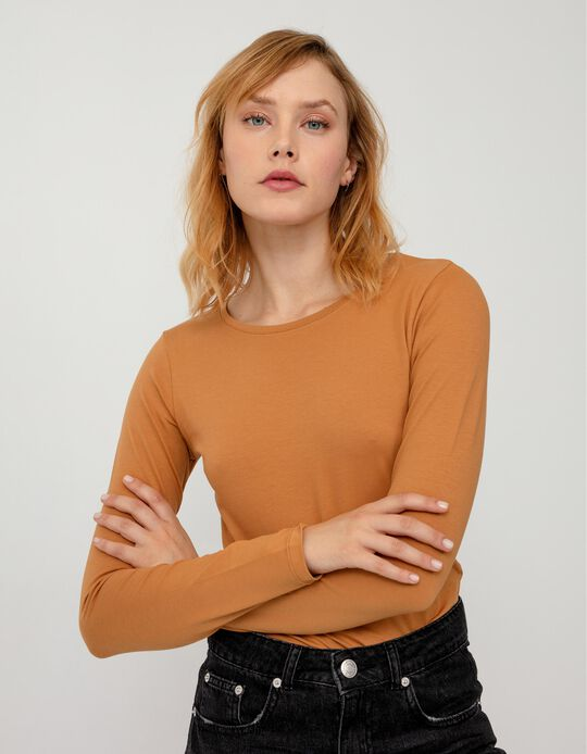 Basic Long Sleeve Top, Women, Brown