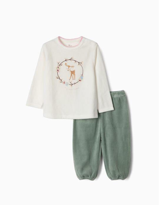 Pijama Veludo para Bebé Menina 'My Sweet Home', Branco/Verde