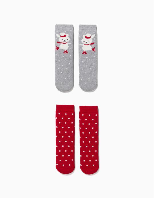 2 Pairs of Non-Slip Socks for Children, 'Christmas Bunny', Red/Grey