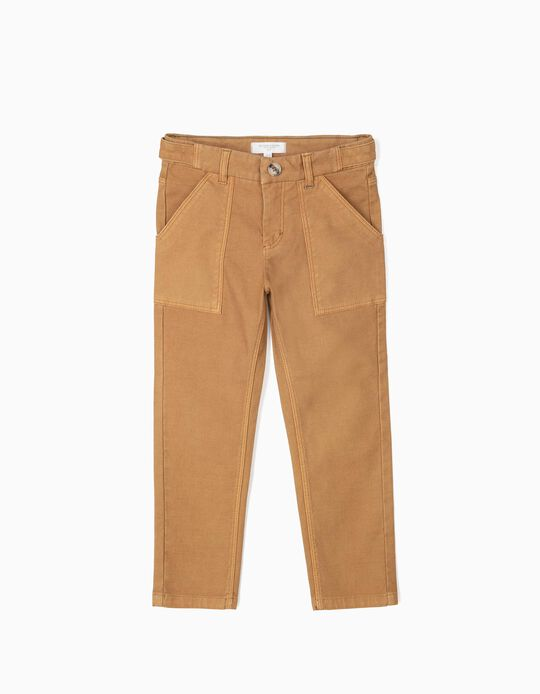 Textured Trousers for Boys 'B&S', Camel