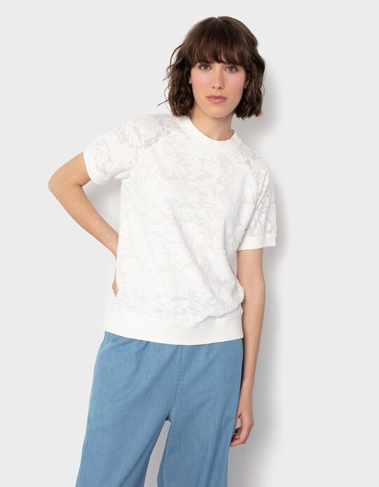 White Textured T-shirt, Women