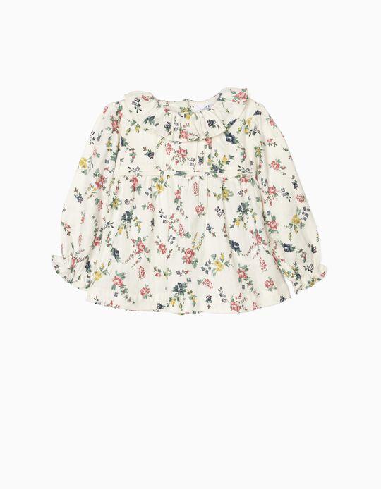 Blusa para Bebé Menina 'Flores', Branco