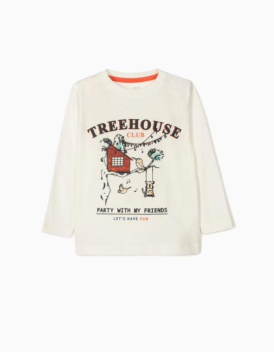 T-shirt Manga Comprida para Bebé Menino 'Treehouse', Branco