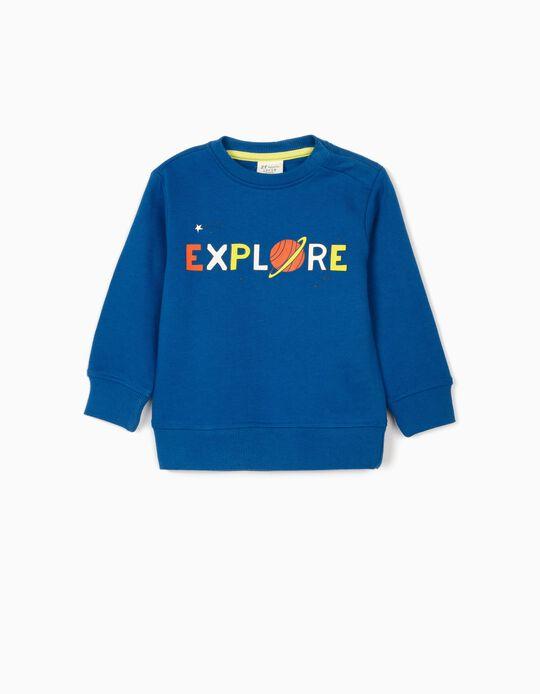 Sweatshirt para Bebé Menino 'Explore', Azul