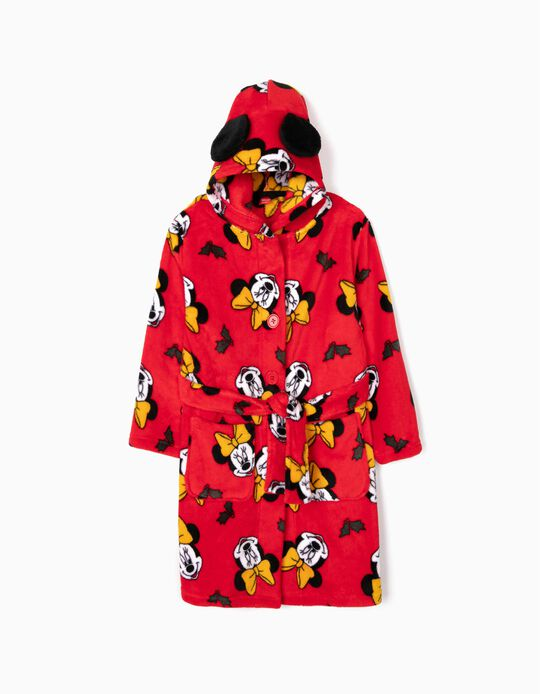 Hooded Robe for Girls 'Minnie Christmas', Red