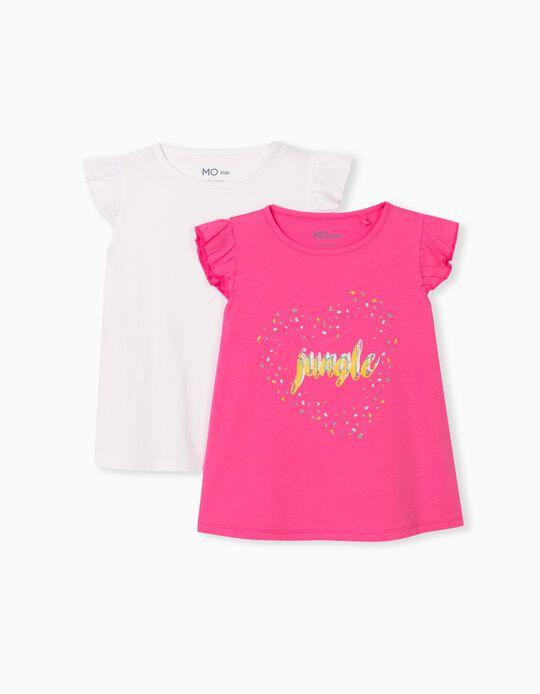 2 T-shirts para Menina, Branco/ Rosa