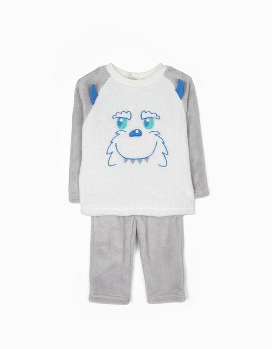 Pijama Polar Yeti Cinza e Branco
