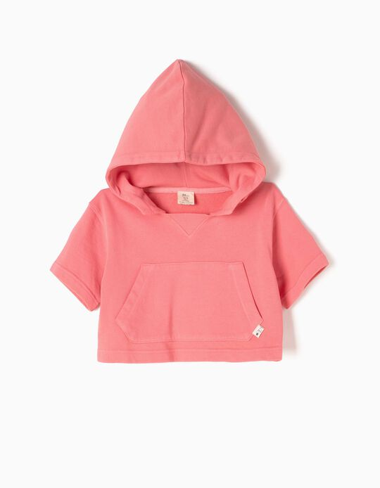 Pink Short Sweatshirt with Hood