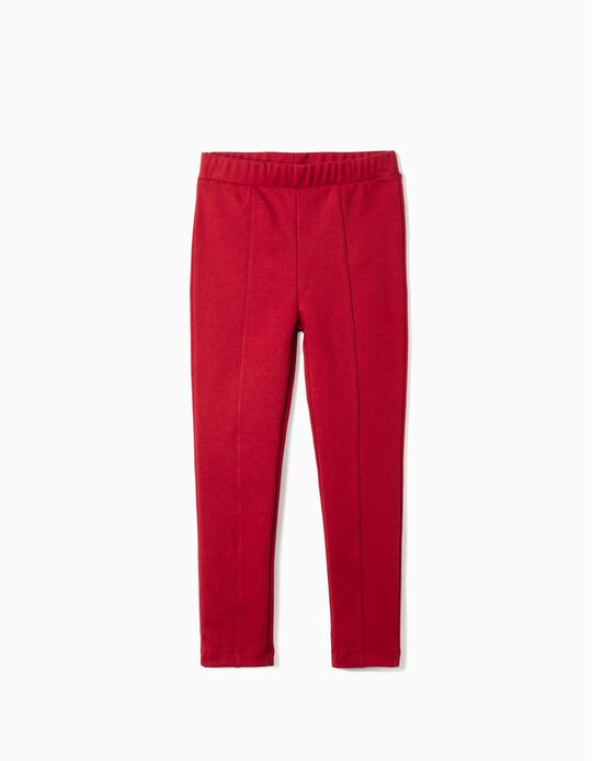 Leggings with Front Crease for Girls, Red