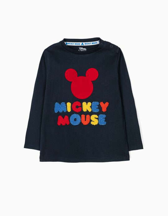 T-shirt Manga Comprida para Bebé Menino 'Mickey Mouse', Azul