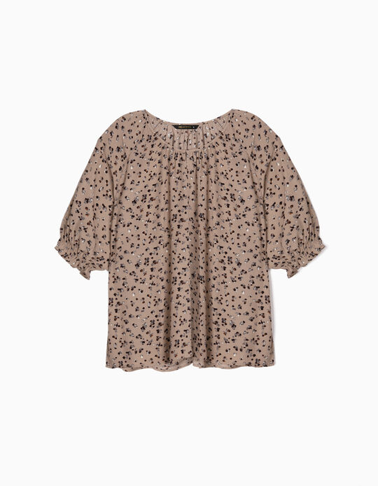 Printed blouse with ruffled sleeves