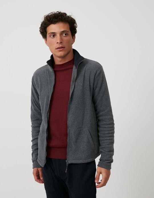 Polar Fleece Jacket, Men, Grey