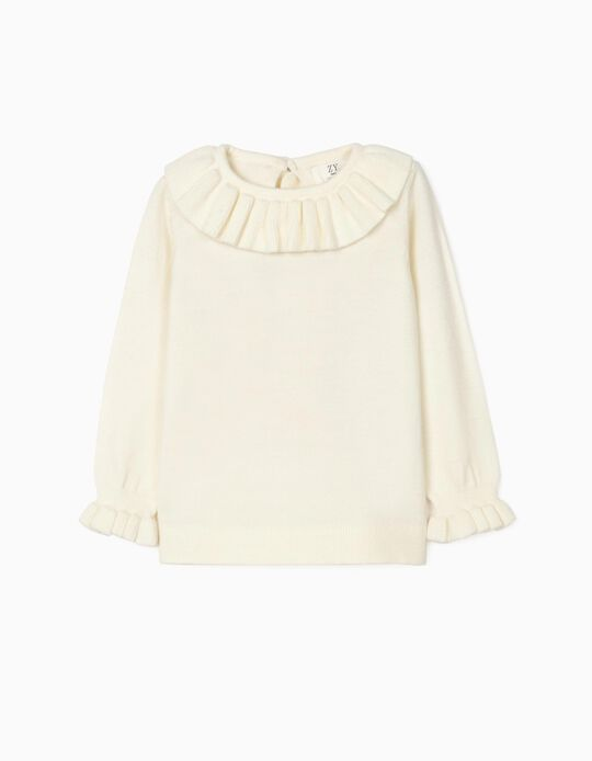 Jumper with Frills for Baby Girls, White