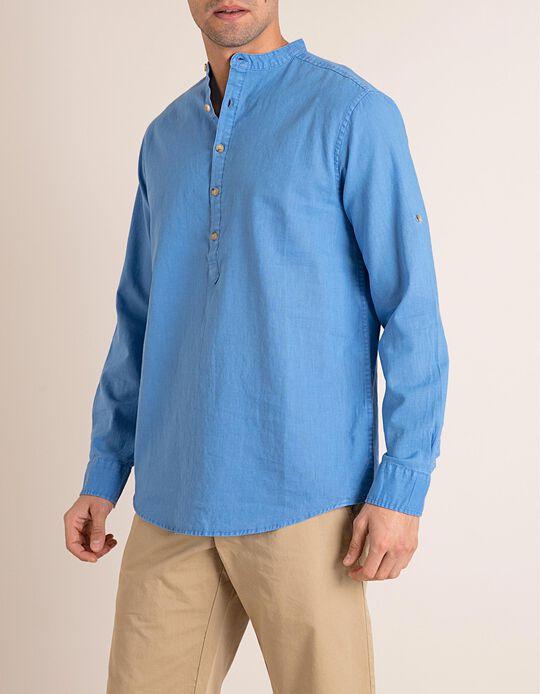 Camisa Linho Com Gola Mandarim