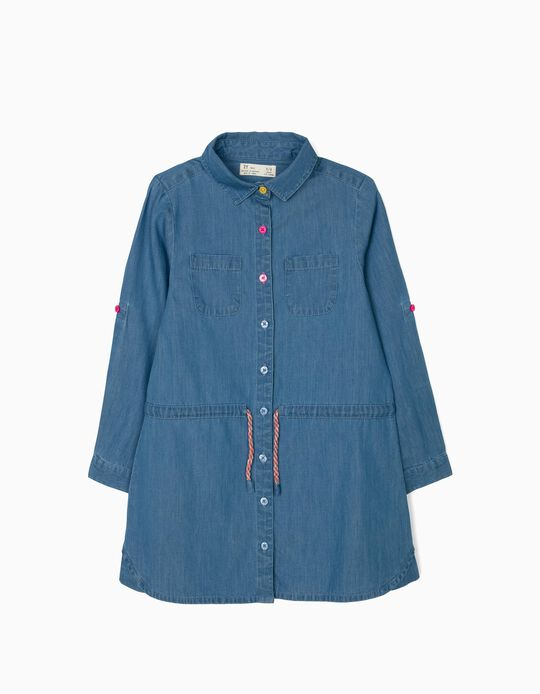 Vestido Denim para Menina, Azul