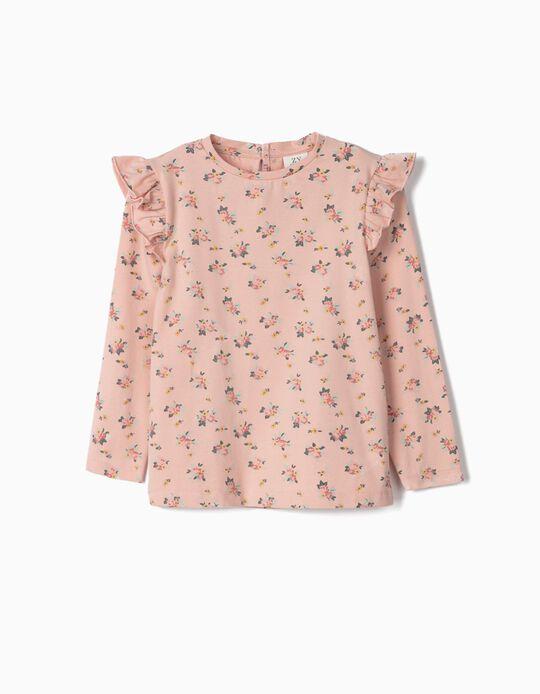 T-shirt Manga Comprida para Menina 'Flores', Rosa