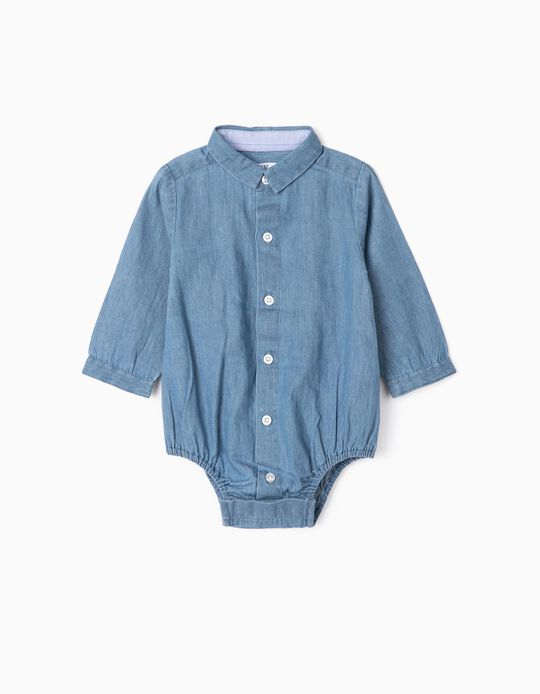 Bodysuit Shirt for Newborn Babies 'Comfort Denim', Blue