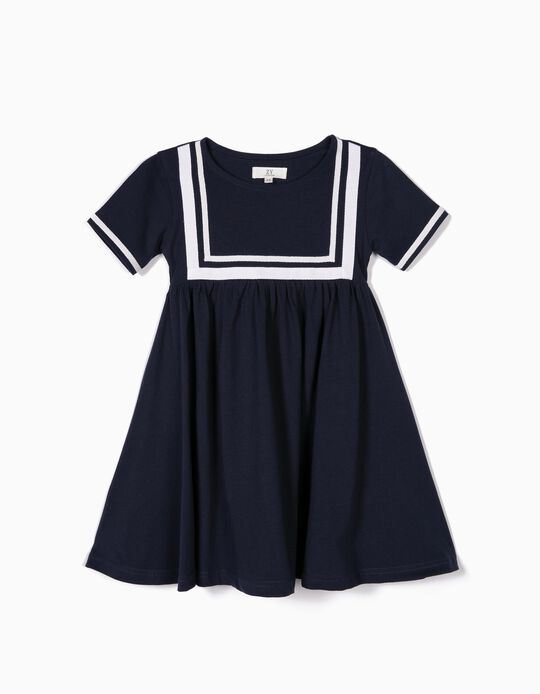 Vestido para Menina 'Sailor', Azul-Escuro