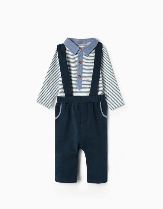Trousers with Straps and Bodysuit Set for Newborn, Blue