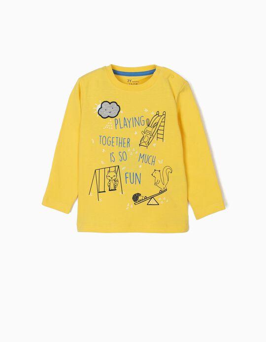 T-shirt Manga Comprida para Bebé Menino 'Playing Together', Amarelo