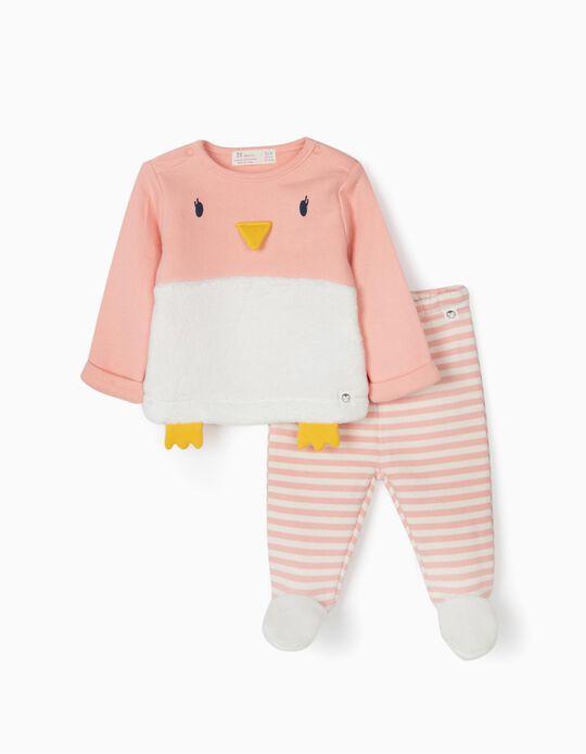 Tracksuit for Newborn Girls 'Cute Penguin', Pink/White