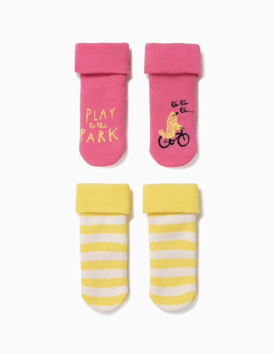 2 Pares de Meias Antiderrapantes para Bebé Menina, Rosa e Amarelo