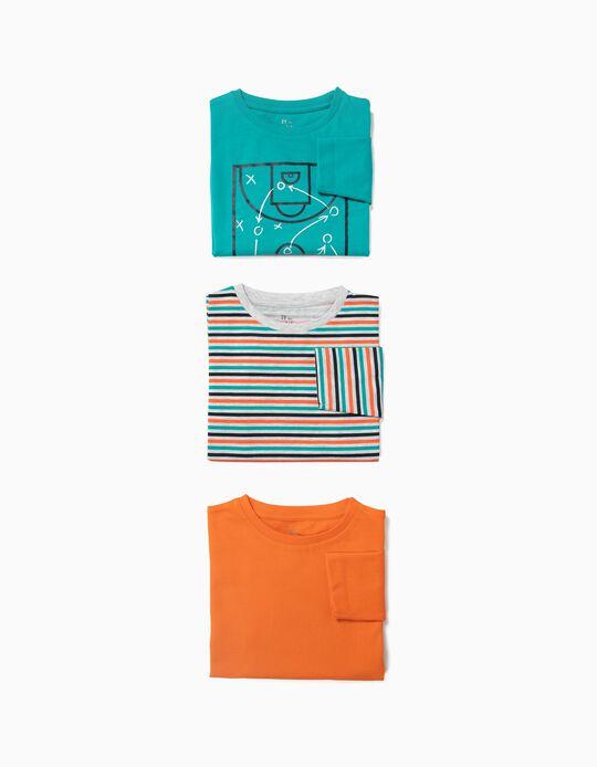 3 T-shirts Manga Comprida para Menino 'Sports', Multicolor