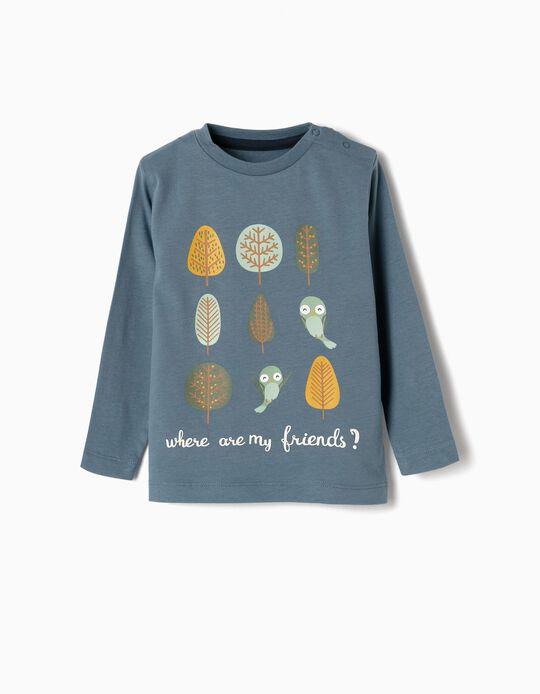 T-shirt Manga Comprida para Bebé Menino 'Friends', Azul