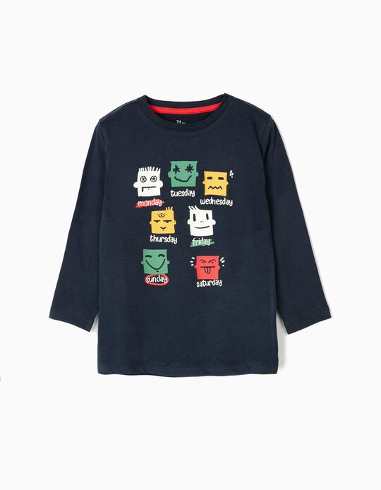 Long-sleeve Top for Boys 'Week Moods', Dark Blue