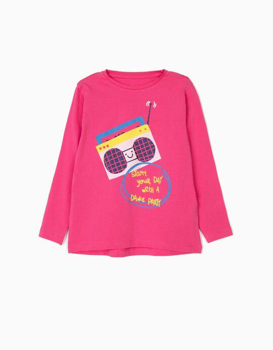 T-shirt Manga Comprida para Menina 'Dance Party', Rosa