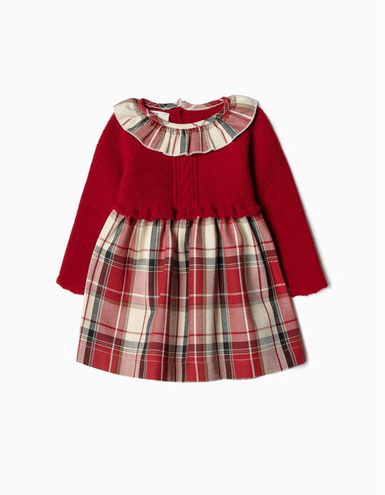 Vestido Combinado para Recém-Nascida, Vermelho/Xadrez