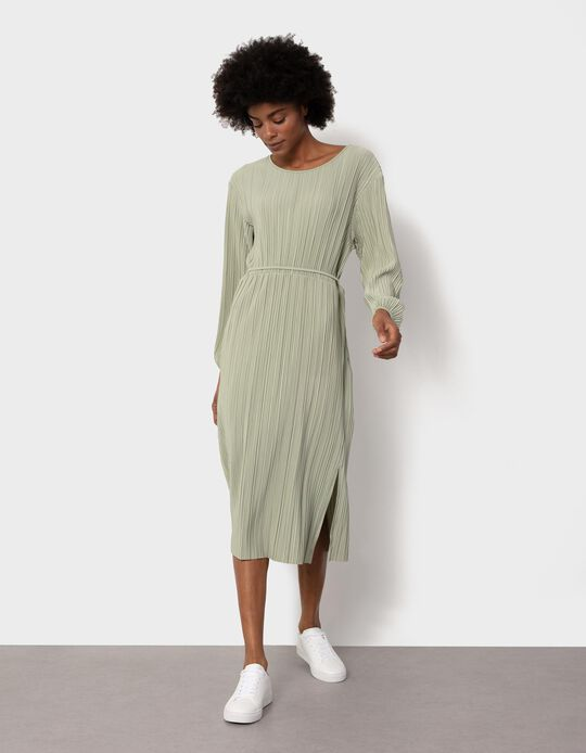 Midi Length Pleated Dress, Green