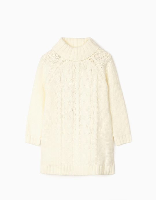 Thick Knit Dress for Girls, White