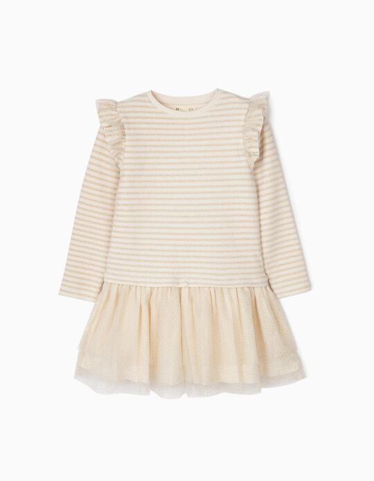Combined Dress for Girls 'Stripes & Dots', White/Golden