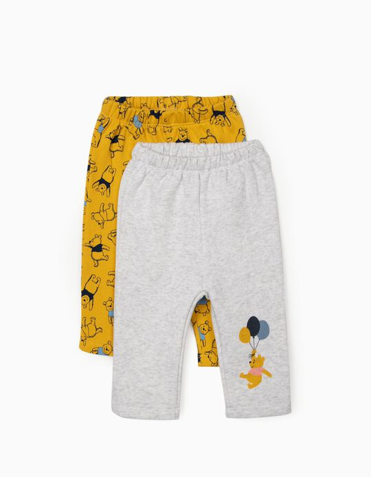 2 Trousers for Baby Boys  'Winnie the Pooh', Yellow/Grey
