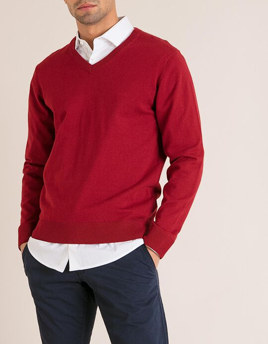 Camisola Decote V Vermelha