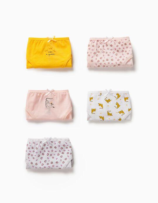 5 Briefs for Girls 'Leopard Queen', Multicoloured