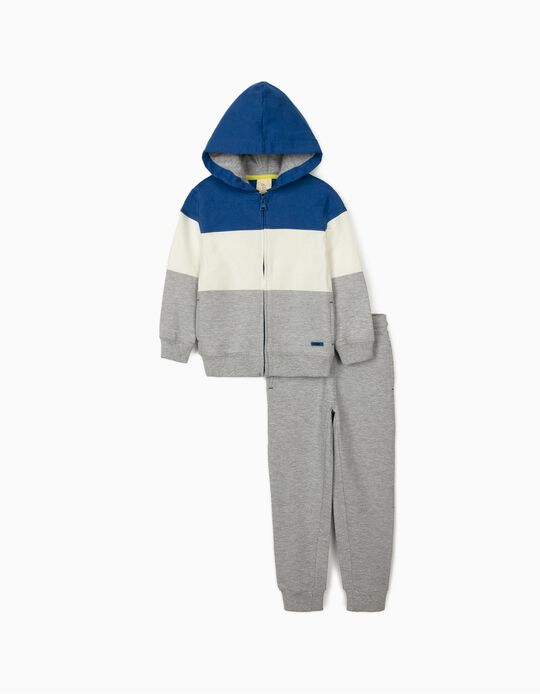 Tracksuit for Boys 'ZY 1996', Grey/Blue/White