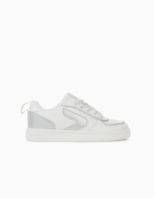 Trainers for Girls, 'ZY', White/Silver