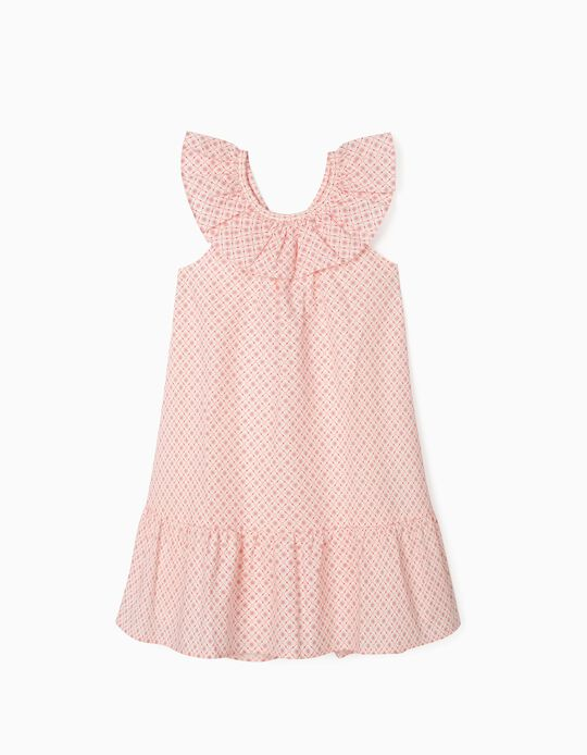 Printed Dress for Girls, White/Pink