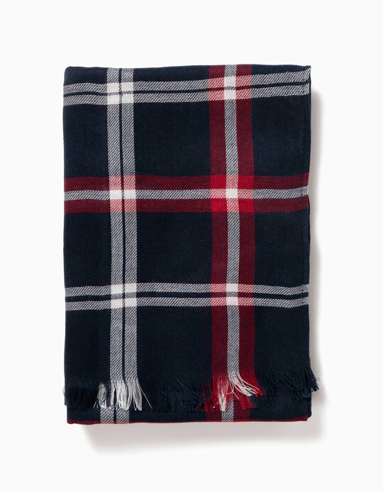 Blue and Red Tartan Scarf