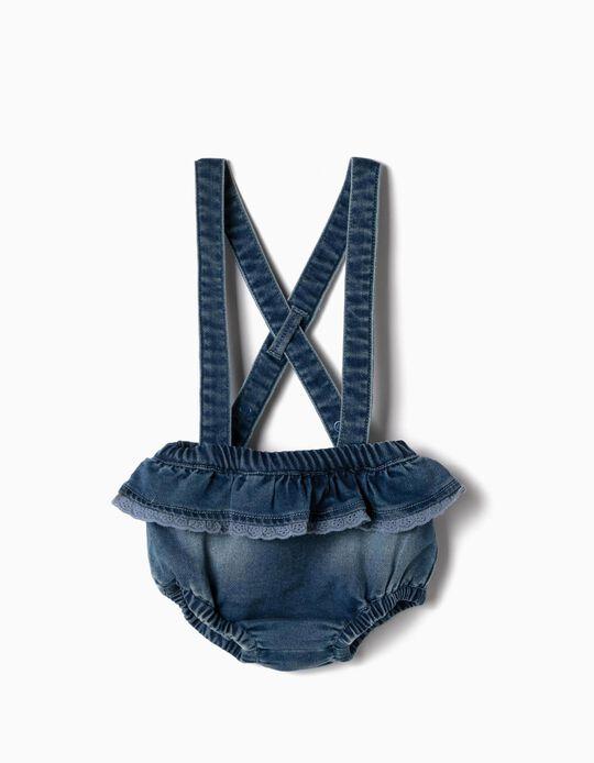 Calções com Alças para Recém-Nascida 'Comfort Denim', Azul