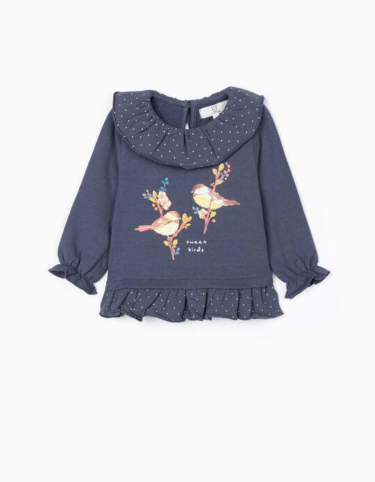 Sweatshirt for Baby Girls 'Sweet Birds', Blue