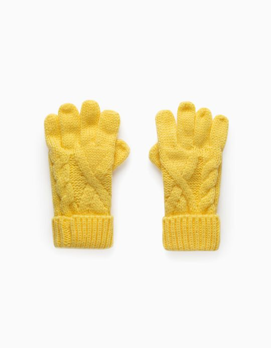 Knit Gloves for Children, Yellow