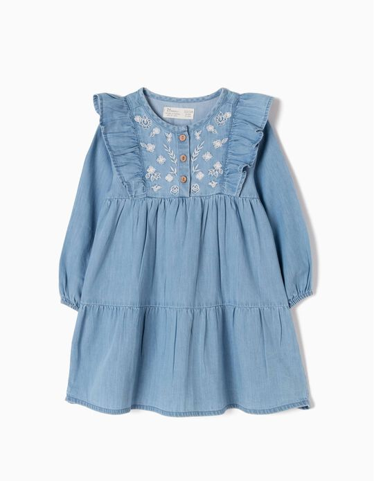 Denim Dress with Ruffles & Embroideries