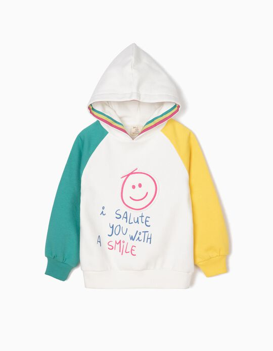 Sweatshirt com Capuz para Menina 'Smile', Branco