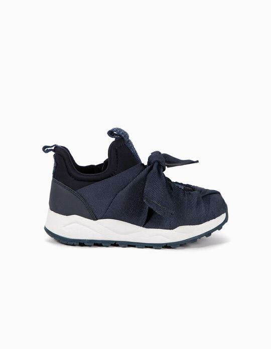 Trainers with Ribbons for Girls, Dark Blue